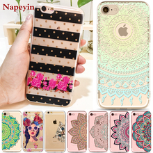 For iPhone 7 6 6S Plus 5 5S SE Case Cover Cat Modern Dress Girl Mandala Flowers Transparent Soft Silicon Mobile Phone Bag Fundas