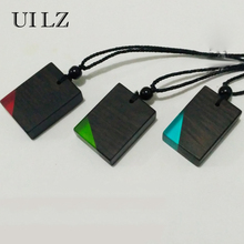 UILZ Fashion Tag Resin Secret Wood Necklace Pendant forWomen Men Jewelry Blue & Black Magic Rectangle Choker JWNP063