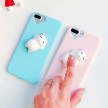 FLOVEME For iPhone 7 8 Plus 5S 5 Case Cute 3D Squishy Doll Cat Seal Phone Cases For iPhone 6 6S 5S 5 SE Case Silicon Accessories(China)