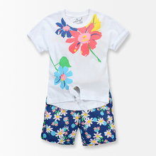 Flower print Grils Clothing Sets Summer Style Flower T Shirt Pants Suit toddler girl clothing sports costume for girls Tops