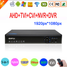 Blu-Ray Caso 1080 P 2MP Full HD Hi3531A 16 Canali 16CH 6 in 1 WIFI Coassiale Hybrid XVI TVI IP NVR AHD CVI CCTV DVR di Trasporto Libero(China)