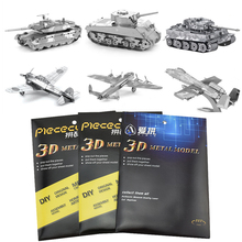 27 Kinds Military 3d Metal Puzzle Aircraft Tank Helicopter DIY Model Educational Toys for Children/Adult Fidget Puzzles Kids Toy
