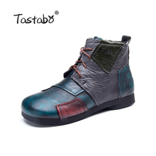 Tastabo 2017 Fashion Handmade Boots For Women Genuine Leather Ankle Shoes Vintage Mom Shoes Retro Folk Style Sapphire Boots
