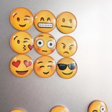 1pc Glass Dome Round Cute Smile Emoji Face Expressions Refrigerator Sticker Fridge Magnet Message Holder Christmas Accessories