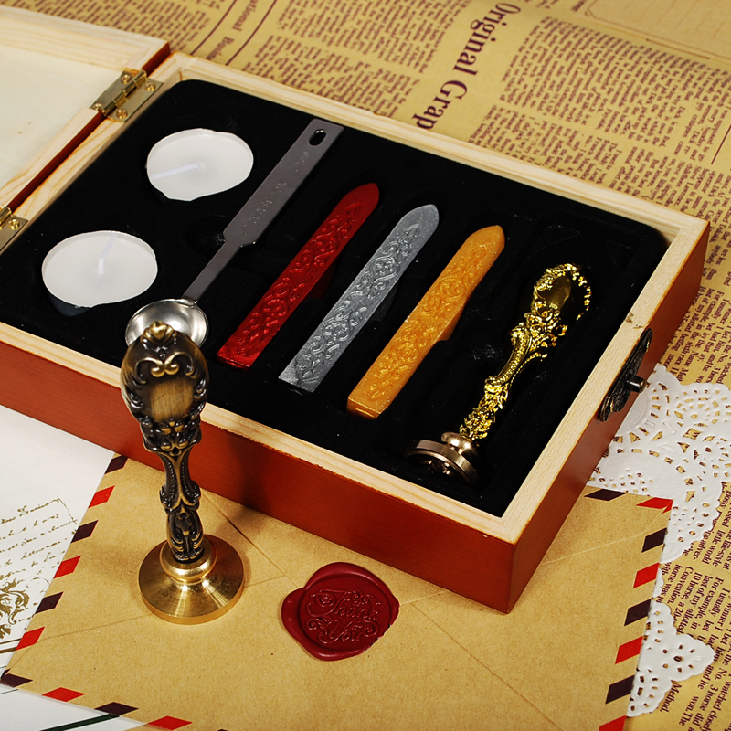Luxury vintage wax seal set,  boutique gift, logo DIY pattern can be customized<br>