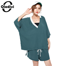 Oladivi Plus Size Women Fashion Ladies Casual Tracksuits Ladies Two Piece Suit Set T-shirt + Shorts Female Shirt Short Trousers