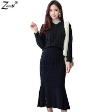 ZAWFL 2017 Autumn Winter Korean Women's Knitted Tracksuit Ladies Solid Long Vest Dress+ Sweater Tops Two Piece Sets Suit