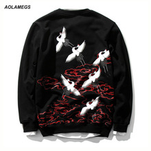 Aolamegs Men Sweatshirts High Quality White Crane Printing Embroidery Pullover Harajuku yokosuka Plus Size Cotton Sweatshirt