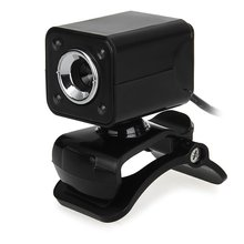 1080P 800W 4 LED HD Webcam Camera + USB 2.0 Microphone for Computer PC Laptop Black(China)