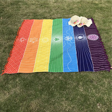 Wall Hanging Mandala Bohemia Mandala Blanket 7 Chakra Tapestry Rainbow Stripes Tapestry Travel Summer Beach Mat Bikini Cover Up(China)