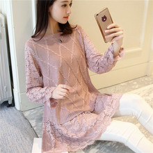 Spring 2017 women's clothing in the new long lace sleeves off second round collar knitting dress render unlined upper garment(China)