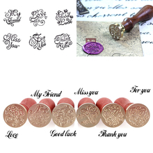 1Pc Retro Wood Sealing Wax Stamp Wedding Envelope Decoration Sealing Wax Stamp Post Decorative#231649(China)