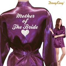 DongKing MOTHER OF THE BRIDE Robes Mother of the Bride Heart Golden Glitter Print Faux Silk Kimono Wedding Satin Bridal Party