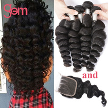 4 Bundles Loose Wave With Closure Curly Indian Virgin Hair With Closure Indian Loose Wave Virgin Hair Wet And Wavy With Closure
