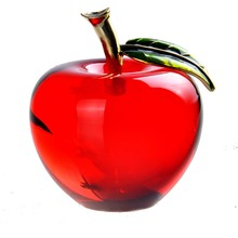 55mm Red  Glossy  Crystal Apple Paperweight Glass Paperweight Fruit Crafts Gifts Art&Collection Souvenir Home Wedding Decoration