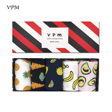VPM GIFT BOX Winter Autumn Warm Women Socks Colorful Cartoon Cute Food Milk Fruits Lovely Funny Socks (5 pairs / lot )