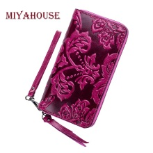 Miyahouse Luxury Leather Women Long Wallets Floral Embossing Female Zipper Wallet Genuine Leather Ladies Cell Phone Purse(China)