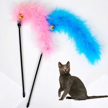 Pink Blue color Turkey Feather Wand Stick with Bell For Cat Toys Catcher Teaser Toy For Pet Kitten Jumping Train Add Fun PD068(China)