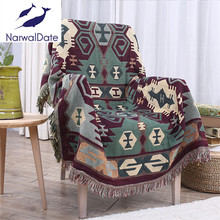 Discount!!! Bohemian Blanket Sofa Decorative Slipcover Throws on Sofa/Bed/Plane Travel Rectangular Color Stitching Blankets