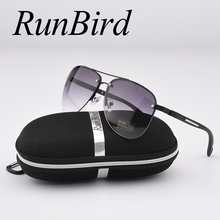 RunBird Fashion Sunglasses Women Popular Brand Design Semi-Rimle Luxury Men Classic Aviation Sun Glasses With Original Case R045