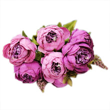 PHFU 1Bouquet 8 Heads Artificial Peony Silk Flower Leaf Home Wedding Party Decor Purple