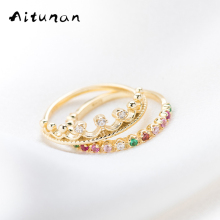 Aitunan 925 Sterling Silver Crown Ring Princess Ring Set ,Color Stones Zircon Thin Gold Color Stacking Ring For Party Gift(China)
