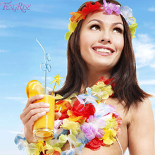 FENGRISE 50pcs Luau Hawaiian Flower leis Artificial Flowers Garland Necklace Fancy Dress Wedding Decoration Happy Birthday Party(China)