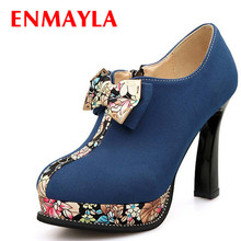 ENMAYLA Retro Print Spring Autumn Platform Ankle Boots for Women Bowtie Round Toe High Heels Wedding Shoes Green Blue Boots