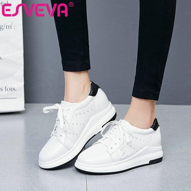 ESVEVA 2017 White Casual Shoes Lace Up Platform Med Heel Women Pumps Wedges Heel Spring Autumn Mixed Color Woman Shoe Size 34-39<br>