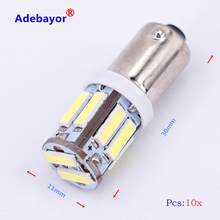 10 PCS BA9S T4W 10 SMD 7014 7020 LED 10SMD Auto interior indicator side market light DC12V White Wholesale Adebayor