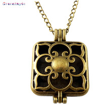 GraceAngie Pad Perfume Plate Fragrance Essential Oil Aromatherapy Diffuser Perfume Women Hollow Locket Pendant Chain Necklace(China)