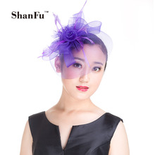 ShanFu Women Mesh Fascinator Feather Headband Wedding Hats and Fascinators with Hair clip for Church Tea Party SFD2756