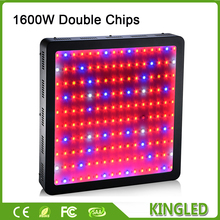 Best Black KingLED 1600W Double Chips LED Grow Light Full Spectrum 410-730nm For Indoor Plants and Flower Phrase Very High Yield(China)