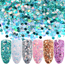 6boxes/set Laser Mixed Nail Glitter Powder Sequins Shinning Colorful Nail Flakes 3d DIY Charm Dust For Nail Art Decorations(China)