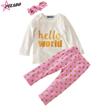 high quality !! baby girls spring sets girls fall letter hello world set children long sleeve top+dot pants+Hair band 3pcs suit