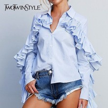 Buy TWOTWINSTYLE Ruffles Women's Shirt Striped Lapel Collar Single Breasted Long Sleeve Feminine Blouse 2018 Spring Fashion Clothes for $16.45 in AliExpress store
