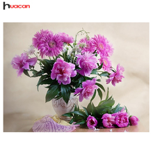 5D DIY Diamond Painting Flowers in vase bead cross stitch kits table mosaic crystal painting purple Flower bedroom wall decor