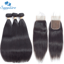 Sapphire Unprocessed Brazilian Straight Human Hair 3 Bundles With Closure Brazilian Human Hair With Lace Closure For Hair Salon(China)