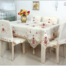 High Quality Beige Decorative Fashion Hollowout Embroidered Tablecloth Table Cloth Covers With European Style