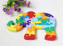 Hot Sale Wooden Animal Elephant Block Colorful Jigsaw Number and Alphabet Double-Sided Kids Learning and Educational Toys