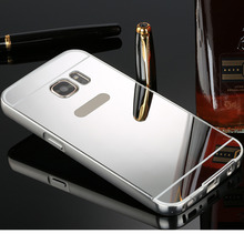 Case For Samsung Galaxy S3/S4/S5/S6/S7/Edge/Plus Luxury Acrylic Aluminum Metal Mirror Back Cover Thin Mobile Phone Case