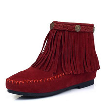 Women Ankle Boots Suede Fringe Tassel Women Boots Moccasin Wedge Shoes Winter Flat Boots big size 35-43 Femme Bota Chaussure