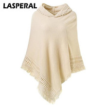 LASPERAL Autumn Poncho Sweaters Women Jersey 2017 Fashion Casual Tassel Knitted Christmas Sweaters Women Hooded Shawls Jumper(China)