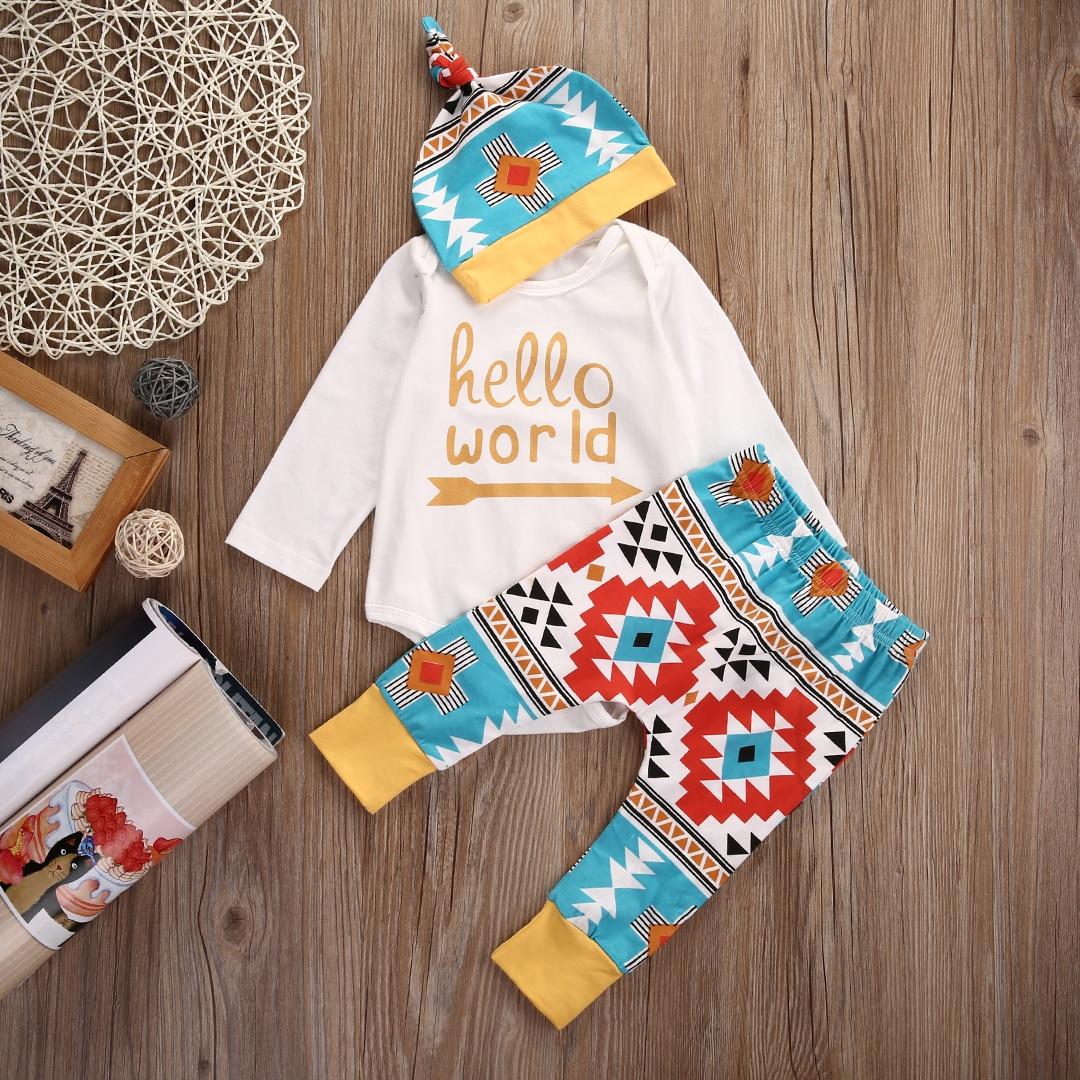 New Autumn Spring Children Clothes Newborn Infant Baby Boy Girl Clothes Set Hat+Romper+Pant Leggings 3pcs Outfits Set<br><br>Aliexpress