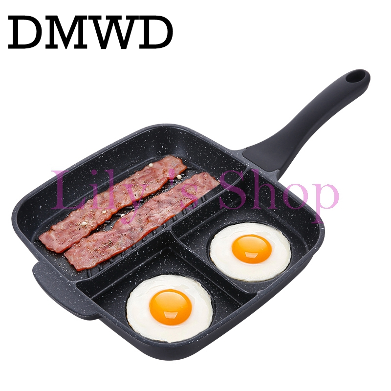 DMWD Multifuncation Non-Stick 3 in 1 Frying Pan Grill Fry Oven Meal Skillet BBQ Barbecue Plates fryer Eggs steak breakfast pan<br>