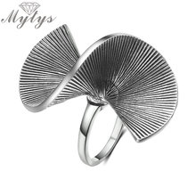 Buy Mytys Vintage Old Silver Retro Punk Metal Rings Women Wrap Geometric Design Big Ring Fashion Jewelry Anel Wholesale R2016 for $3.99 in AliExpress store