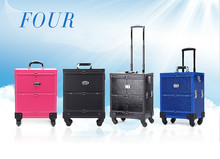 Aluminum Rolling Makeup Organizer Travel Trolley Bag Cosmetic Salon Case