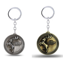J Store Game of Thrones Keychain House Baratheon Family Signs Bronze Key Ring Chains for Men Jewelry Fashion Car Accesssories