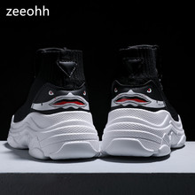 zeeohh Unisex High Top Sneakers Men Increase Knit Upper mesh Shoes Shark Couple Black White Shoes Shoes Casual zapatos de mujer