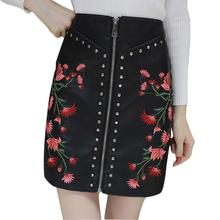 Buy Women PU Leather Flower Embroidery Zipper Skirts 2017 Rivet Design Faldas European Style Fashion Streetwear Mini Skirts OT12 for $12.16 in AliExpress store